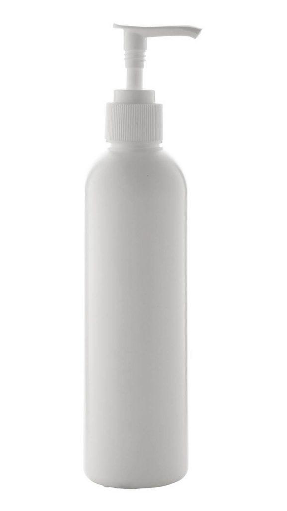 Handreinigingsgel in witte plastic fles met dispenserpomp